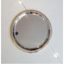 PLATEAU ROND METAL ARGENTE (MOTIF FEUILLE D'EAU) 30 CM