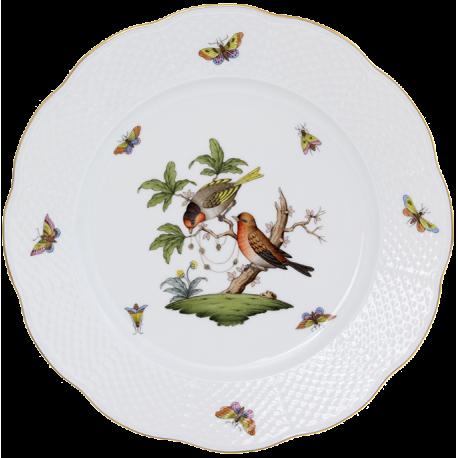 ASSIETTE PLATE - ASSIETTE DE TABLE EN PORCELAINE HEREND - ROTHSCHILD COUPLE D'OISEAUX