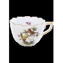 TASSE A CAFE AVEC SOUCOUPE EN PORCELAINE HEREND - ROTHSCHILD COUPLE D'OISEAUX